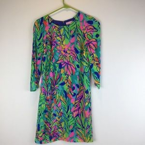 Lilly Pulitzer floral lined shift green pink dress